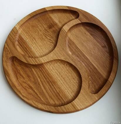 Деревянная тарелка, менажница. Ø 30 см. Дуб.
